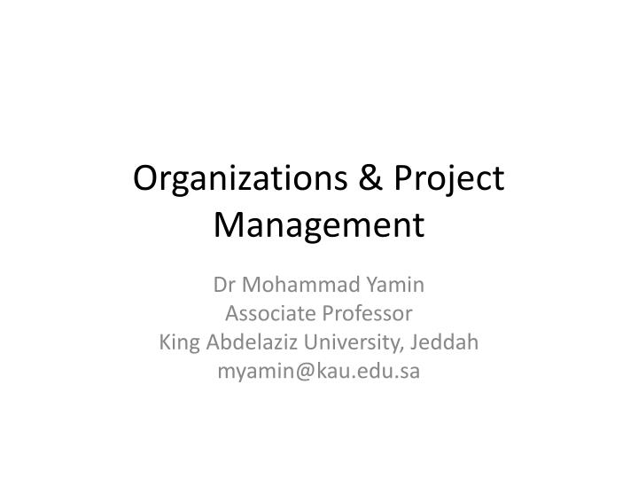 Organizations project management
