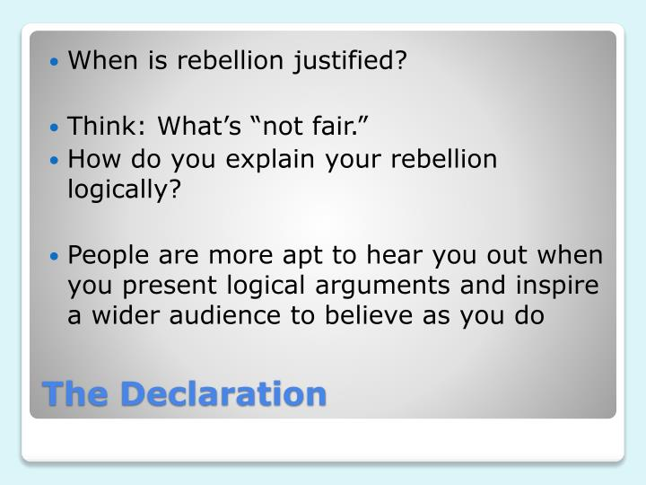 When is rebellion justified?
