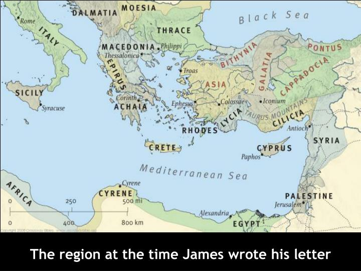 The region at the time James wrote his letter