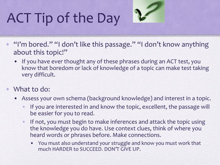 ACT Tip of the Day
