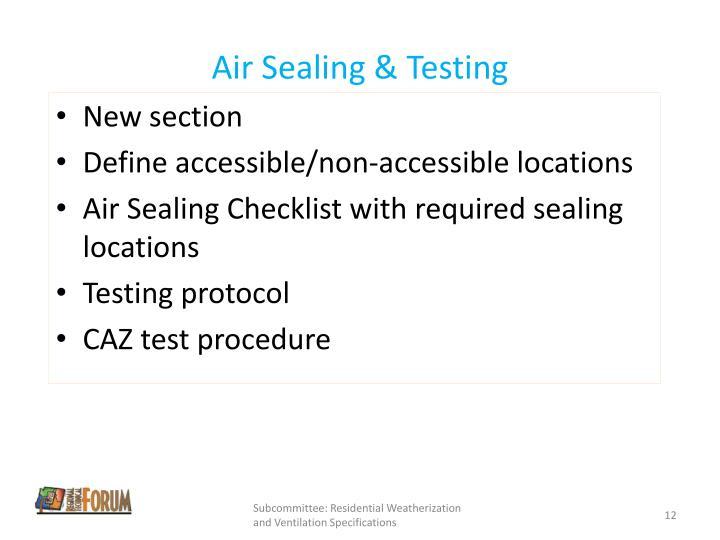 Air Sealing & Testing