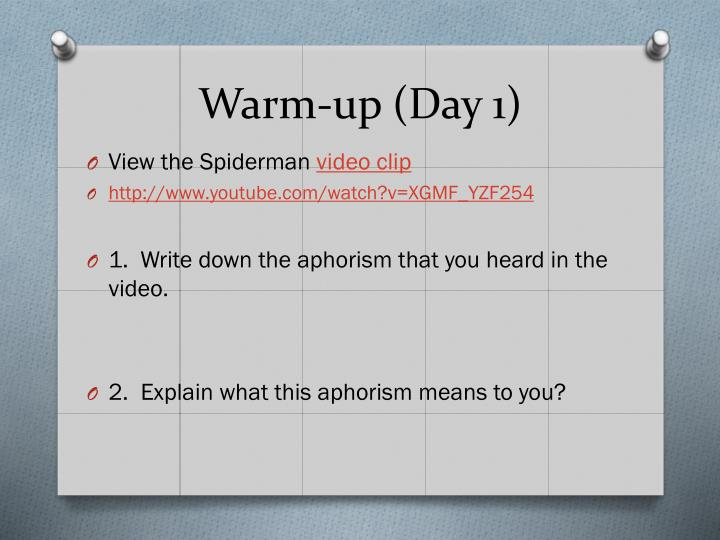 Warm-up (Day 1)