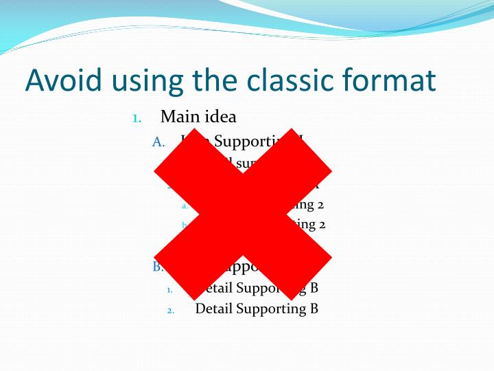 Avoid using the classic format