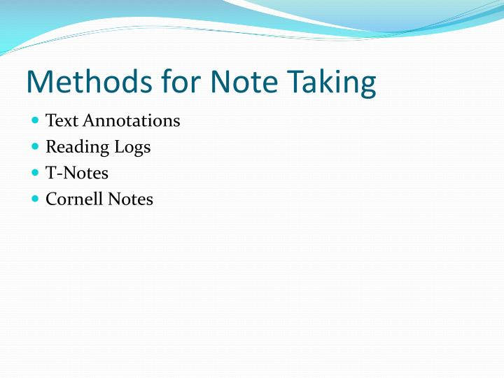 Methods for Note Taking