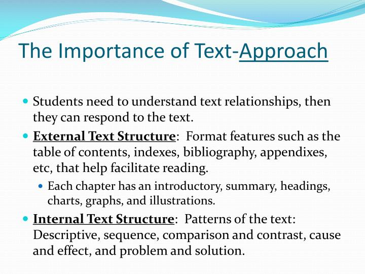 The Importance of Text-