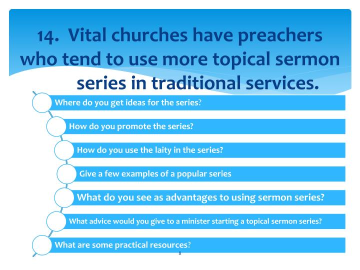 14.  Vital churches have preachers who tend to use more topical sermon