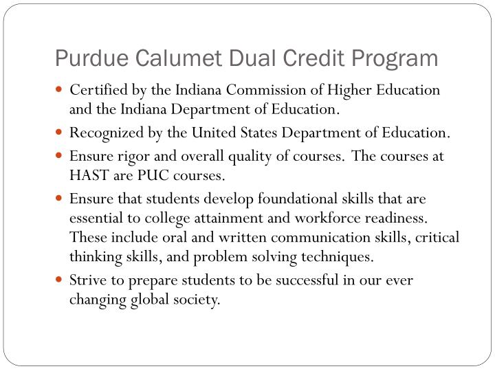 Purdue Calumet Dual Credit Program