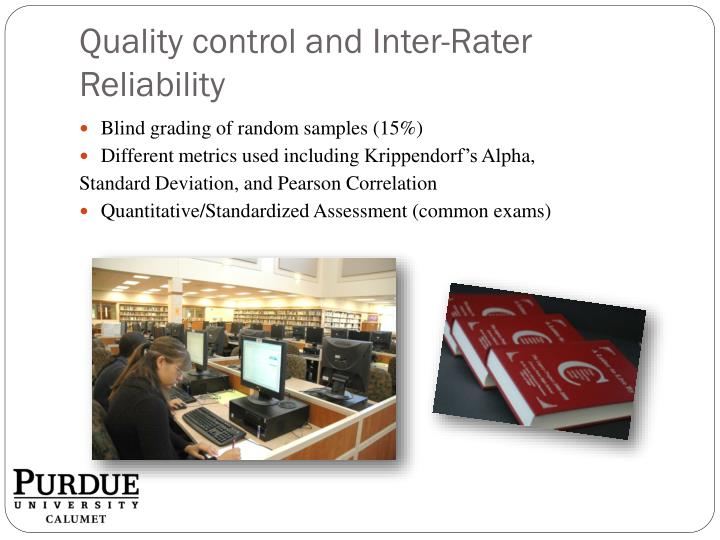 Quality control and Inter-Rater Reliability