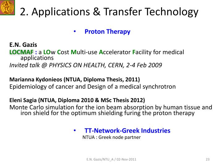 2. Applications & Transfer Technology