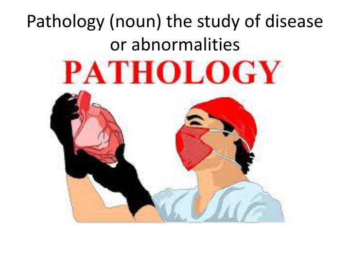 Pathology (noun) the study of disease or abnormalities