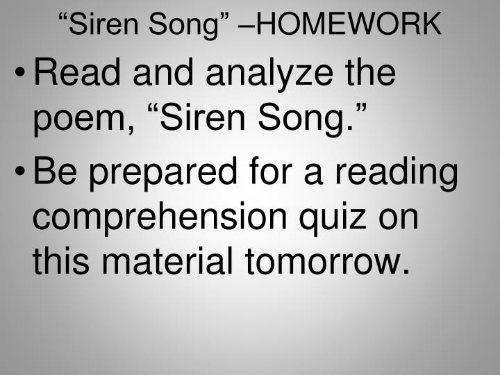 """""""Siren"""
