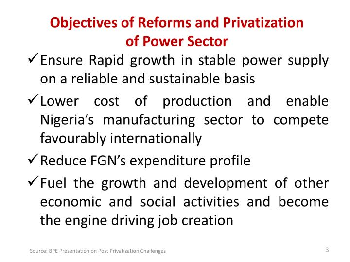 Objectives of reforms and privatization of power sector