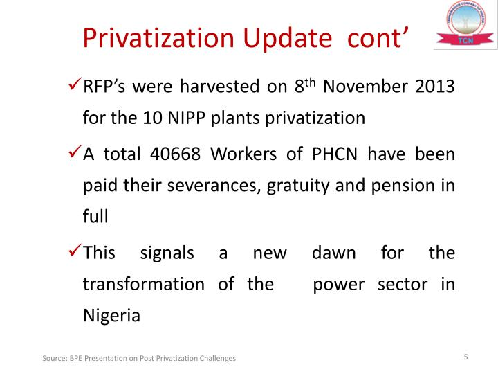 Privatization Update