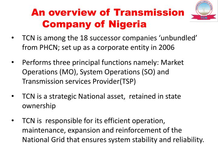 An overview of Transmission Company of Nigeria