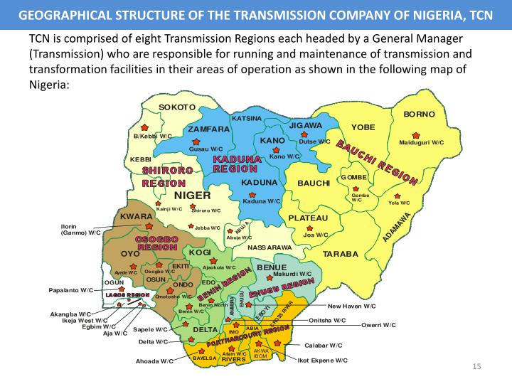 GEOGRAPHICAL STRUCTURE OF THE TRANSMISSION COMPANY OF NIGERIA, TCN