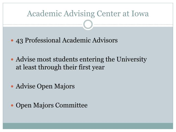 Academic advising center at iowa