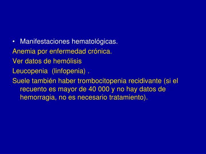 Manifestaciones hematológicas.