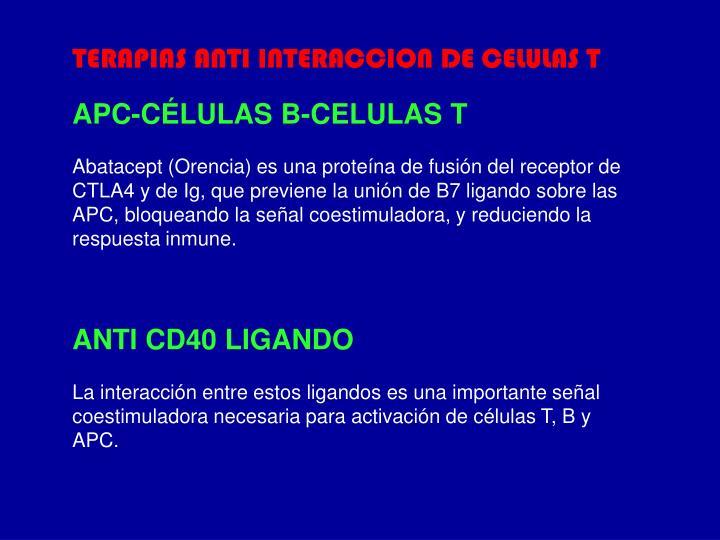 TERAPIAS ANTI INTERACCION DE CELULAS T