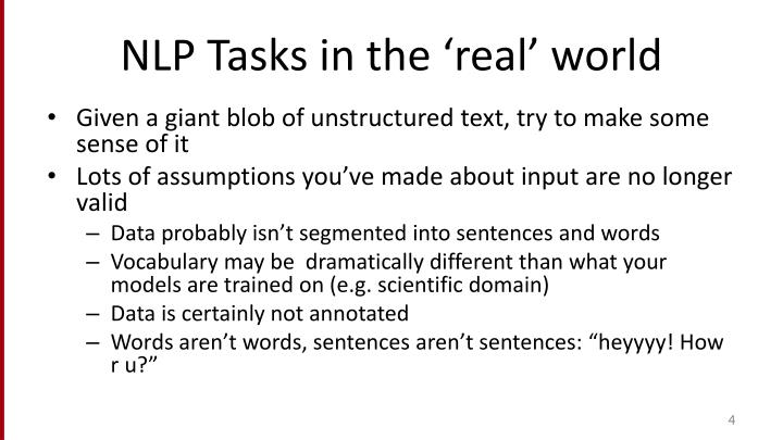 NLP Tasks in the 'real' world