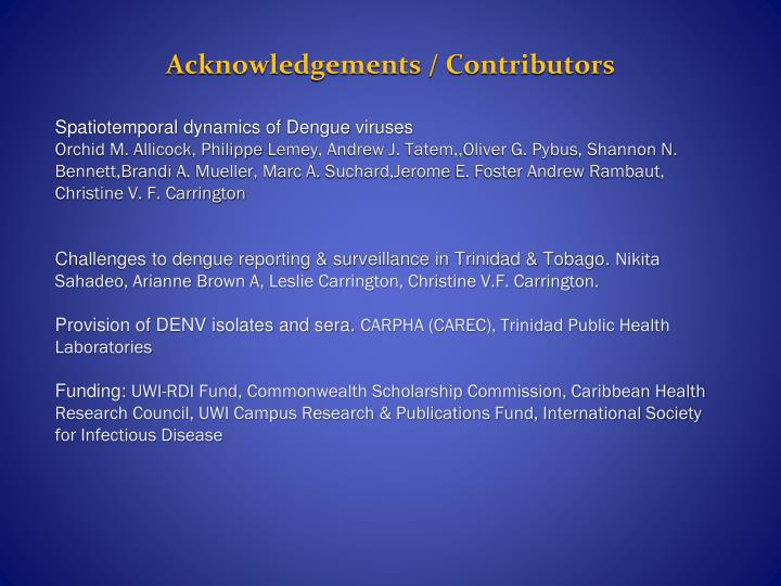 Acknowledgements / Contributors