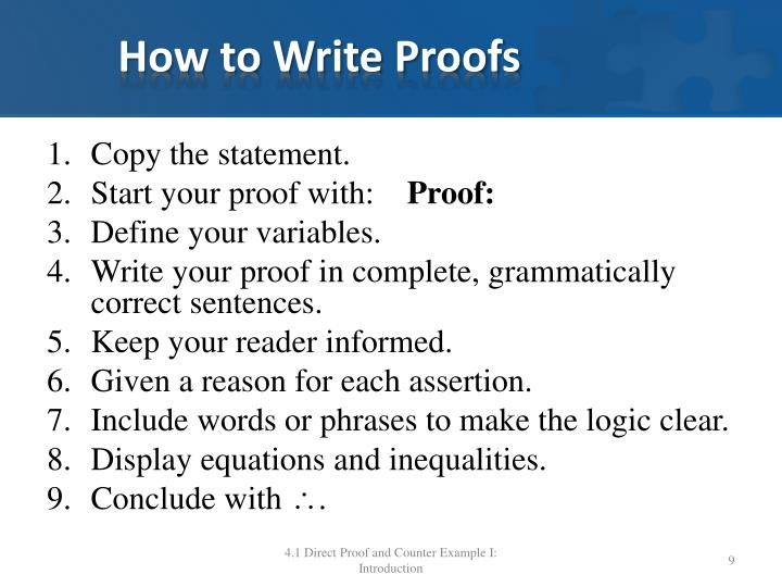 How to Write Proofs