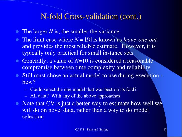 N-fold Cross-validation (cont.)