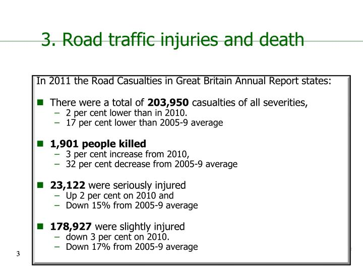 3 road traffic injuries and death
