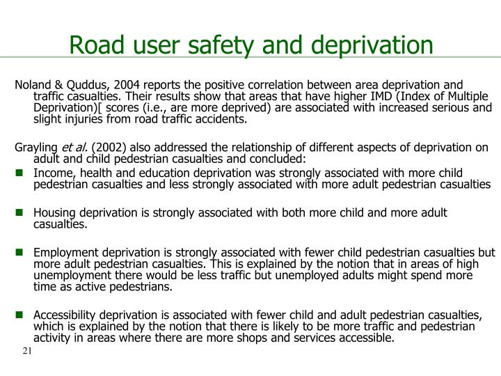 Road user safety and deprivation