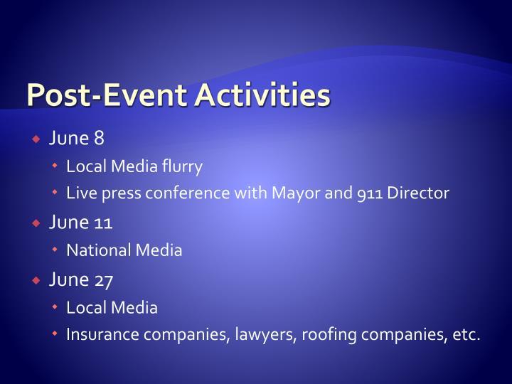 Post-Event Activities