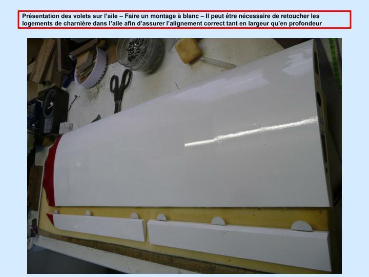 Prsentation des volets sur laile  Faire un montage  blanc  Il peut tre ncessaire de retoucher les logements de charnire dans laile afin dassurer lalignement correct tant en largeur quen profondeur