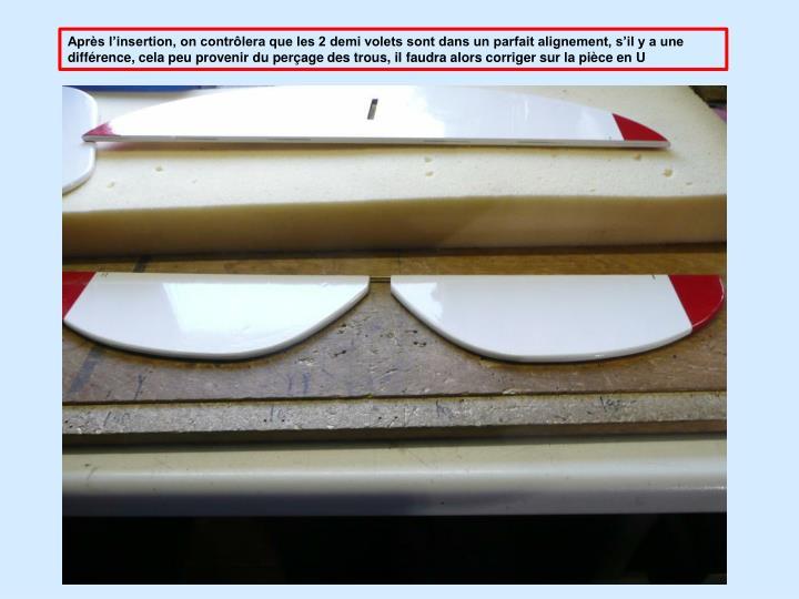 Aprs linsertion, on contrlera que les 2 demi volets sont dans un parfait alignement, sil y a une diffrence, cela peu provenir du perage des trous, il faudra alors corriger sur la pice en U