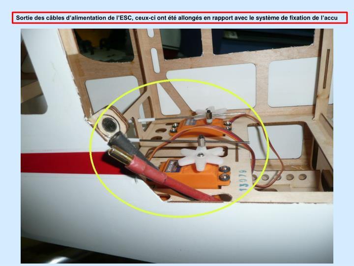 Sortie des câbles d'alimentation de l'ESC, ceux-ci ont été allongés en rapport avec le système de fixation de
