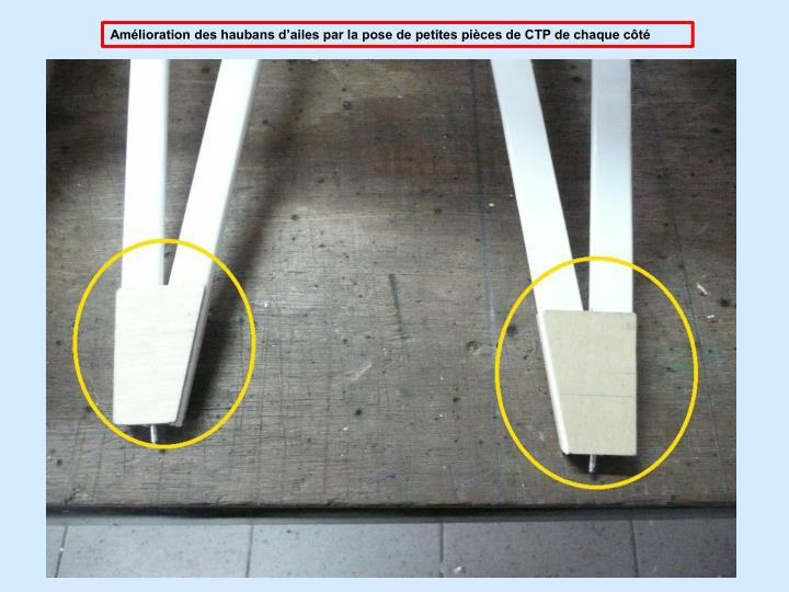 Amlioration des haubans dailes par la pose de petites pices de CTP de chaque ct