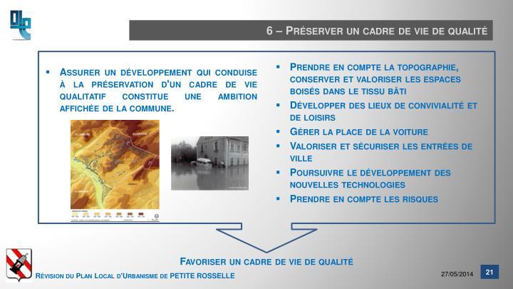 6 – Préserver un cadre de vie de qualité