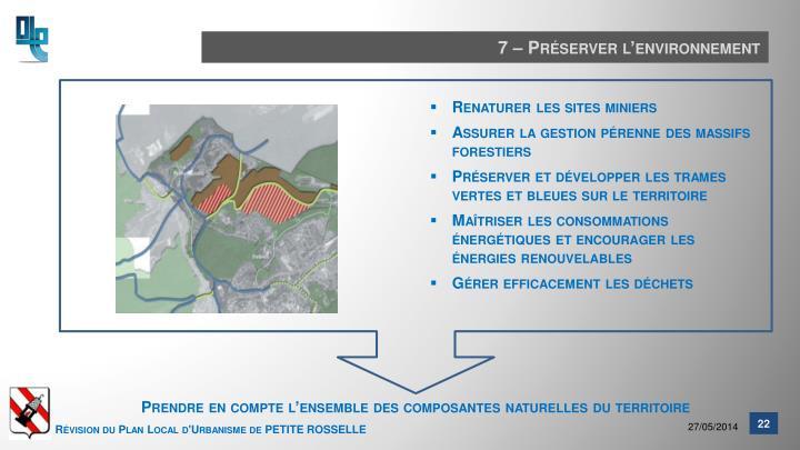 7 – Préserver l'environnement