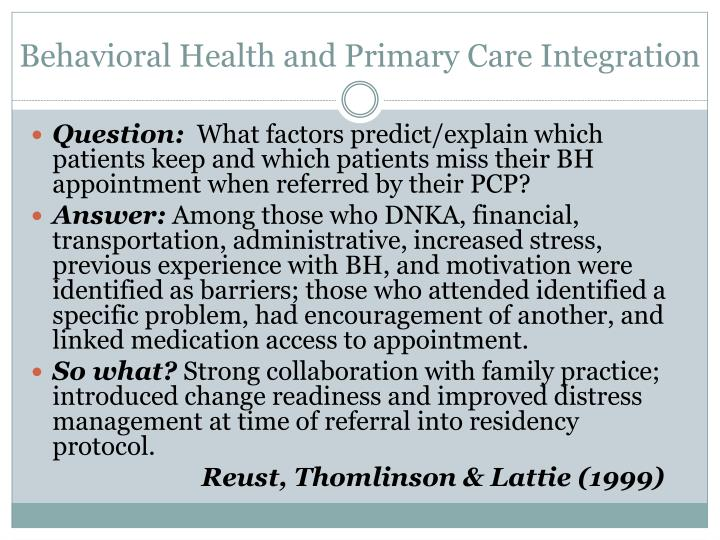 Behavioral Health and Primary Care Integration