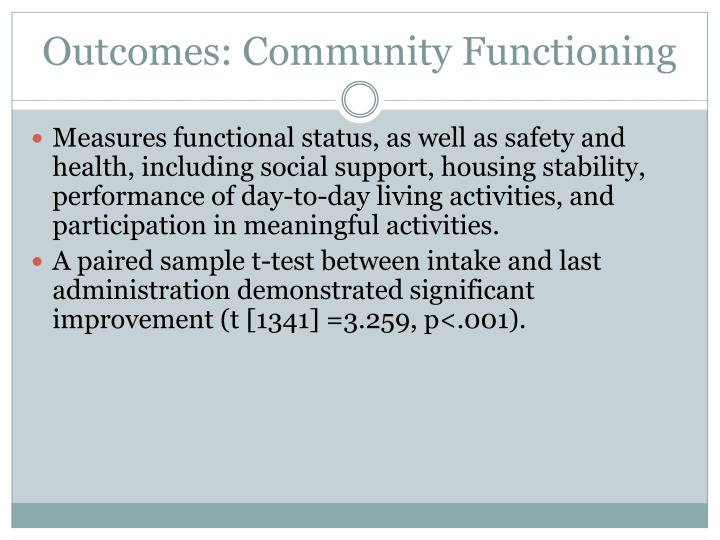 Outcomes: Community Functioning