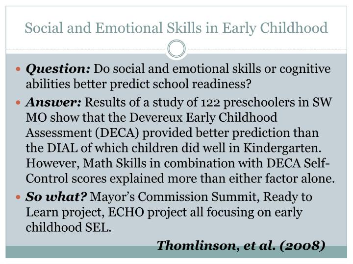 Social and Emotional Skills in Early Childhood