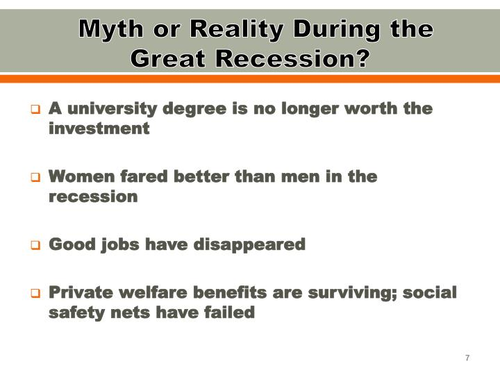 Myth or Reality During the Great Recession?