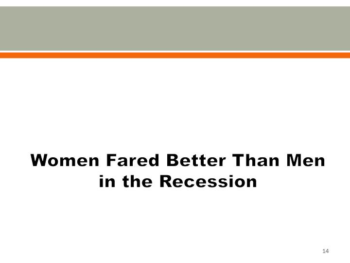 Women Fared Better Than Men in the Recession