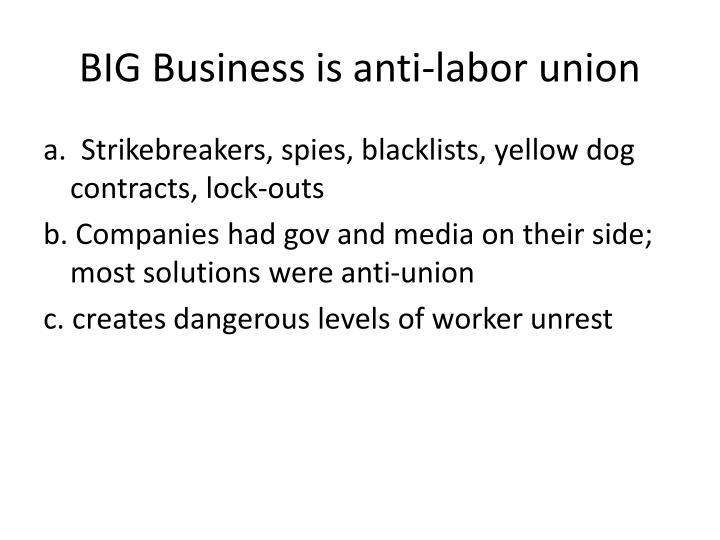 BIG Business is anti-labor union