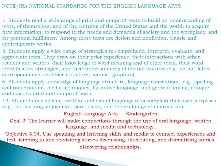 NCTE/IRA NATIONAL STANDARDS FOR THE ENGLISH LANGUAGE ARTS