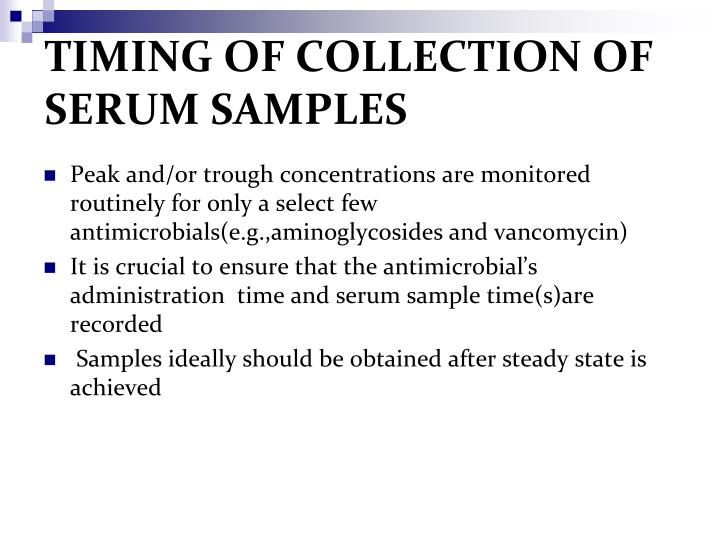 TIMING OF COLLECTION OF SERUM SAMPLES
