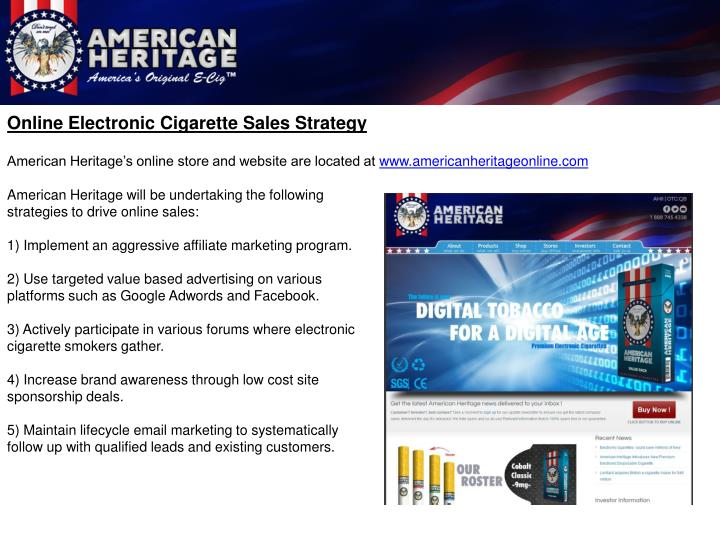Online Electronic Cigarette Sales Strategy