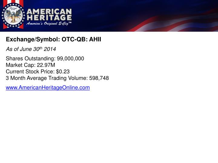 Exchange/Symbol: OTC-QB: AHII