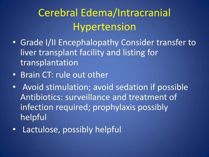 Cerebral Edema/Intracranial Hypertension