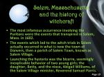 salem massachusetts and the history of witchcraft