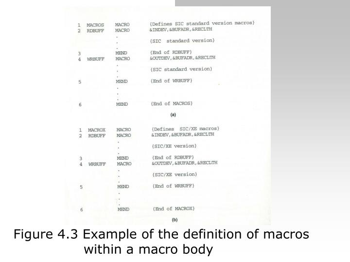 Figure 4.3 Example of the definition of macros within a macro body