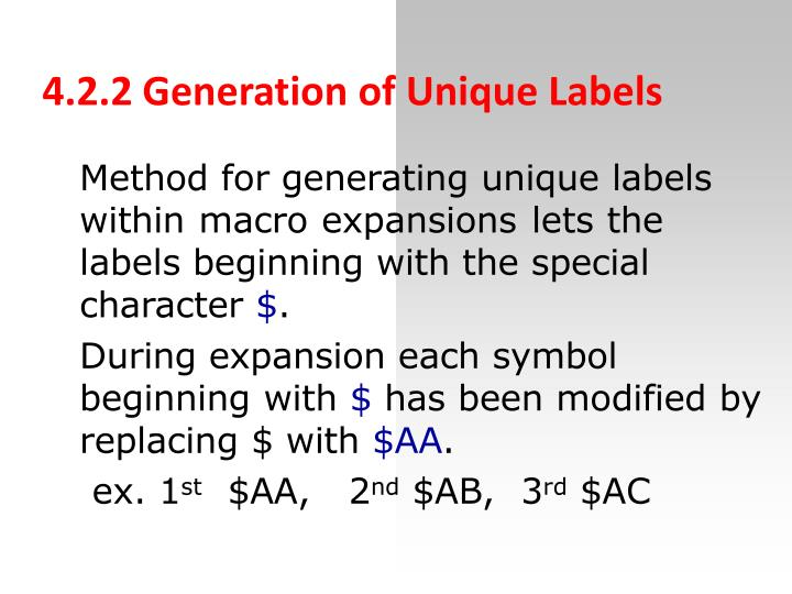 4.2.2 Generation of Unique Labels