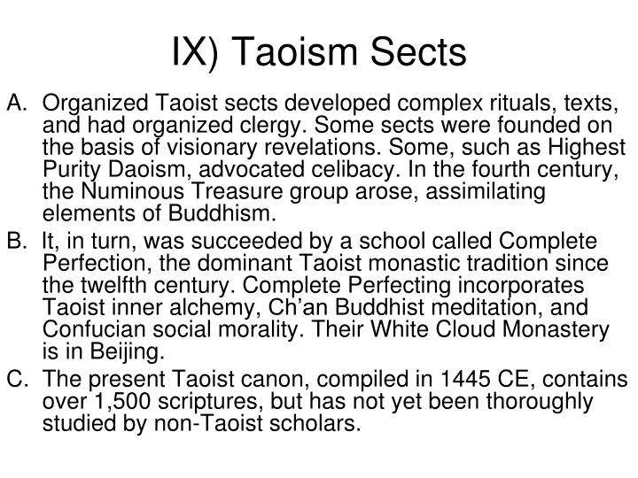 IX) Taoism Sects